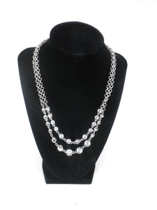 Silver Layered Rhinestone Necklace - Donated From Designer