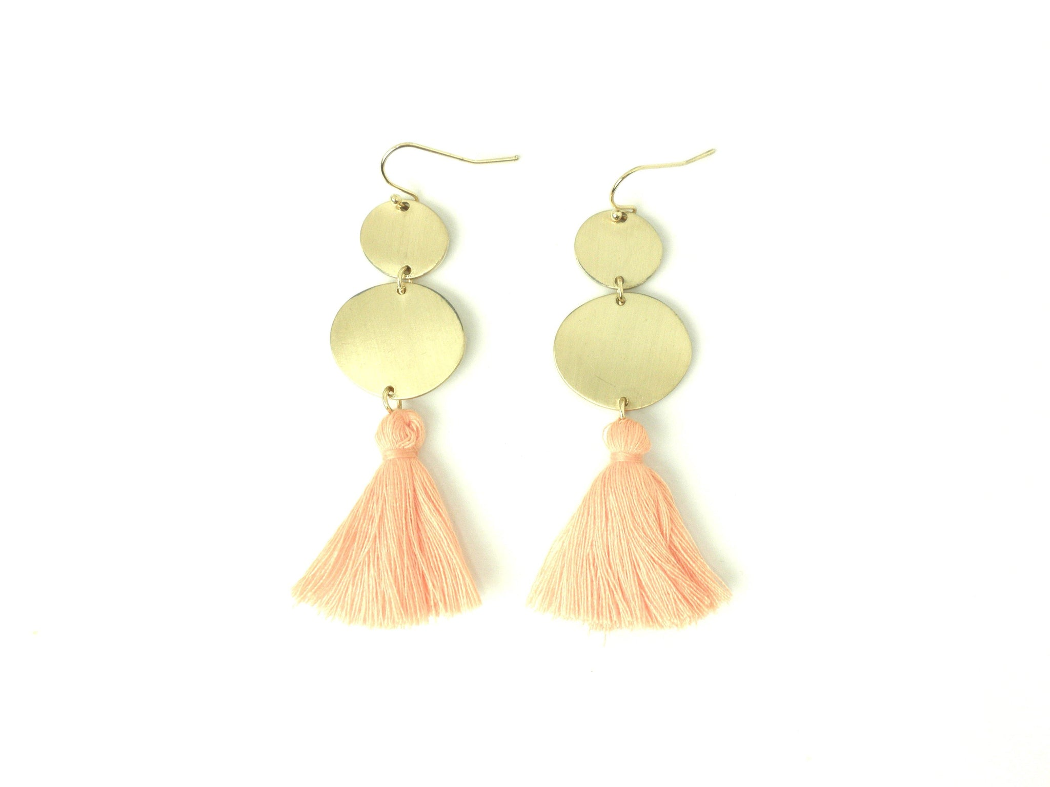 Gold Dangling Earrings with Pink Tassels