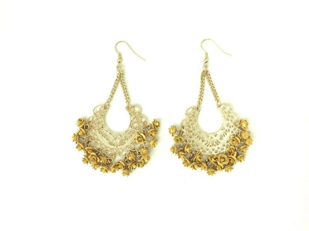 Gold Dangling Earrings with Yellow Flowers - The Fashion Foundation - {{ discount designer}}