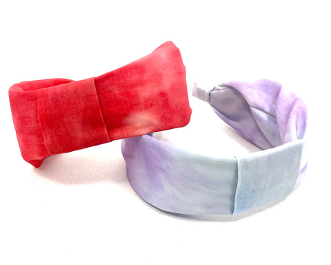 Blue and Pink Set of Two Headbands