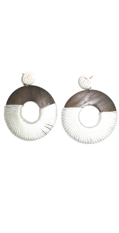 Wooden Circle Earrings Wrapped in White Thread