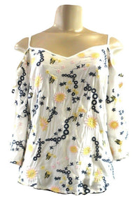 Saks Fifth Avenue White, Yellow, Navy Blue, And Pink Open Shoulder Top - Size XS, S, M & L - New with tags - The Fashion Foundation