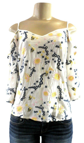 Saks Fifth Avenue White, Yellow, Navy Blue, And Pink Open Shoulder Top - Size XS, S, M & L - New with tags