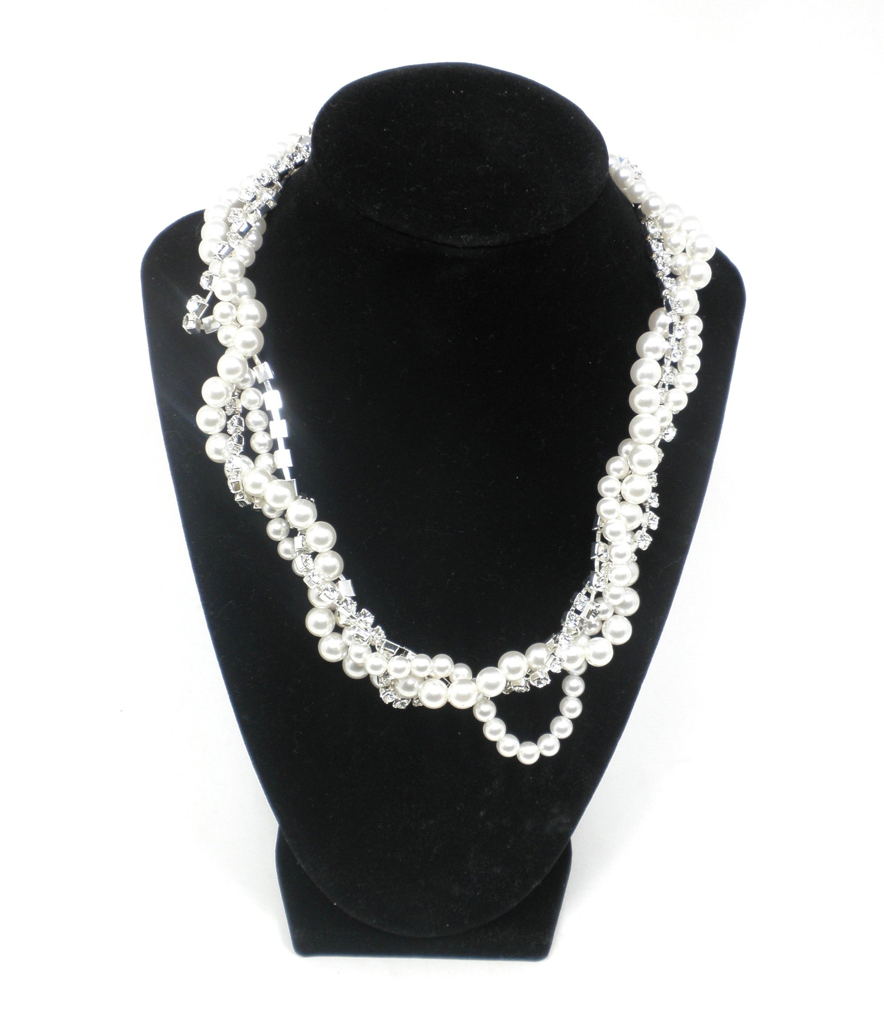 Pearl & Rhinestone Twisted Necklace - Donated From Designer - The Fashion Foundation
