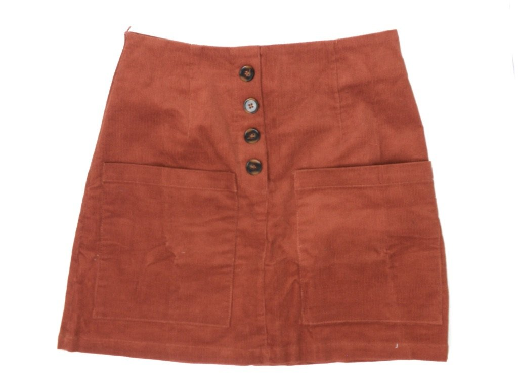 Zaful Burnt Orange Button Down Skirt - Size Small - Donated From Designer - The Fashion Foundation