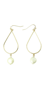 Gold Dangle Earrings with Pearl Detail