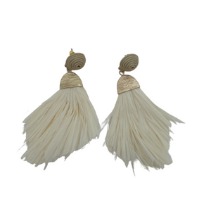 Tan Straw Tassel Earrings - The Fashion Foundation - {{ discount designer}}