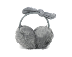 Grey Bow Faux Fur Earmuffs - The Fashion Foundation - {{ discount designer}}