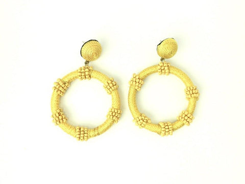 Yellow Dangle Earrings with Beaded Detail