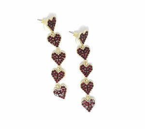 Stella & Ruby Red Stacked Heart Earrings - Donated From The Designer - The Fashion Foundation
