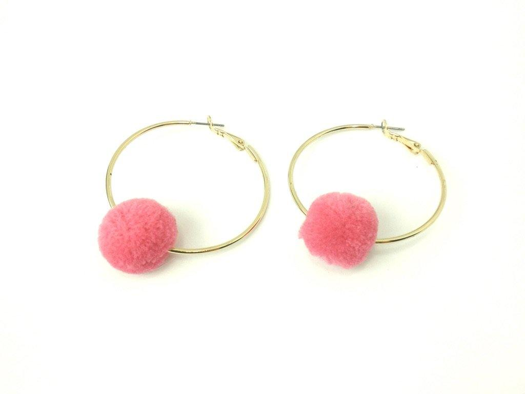 Gold Hoops with Pink Pom Pom - The Fashion Foundation - {{ discount designer}}