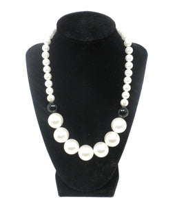 Oversized Black & White Pearl Necklace - Donated From Designer