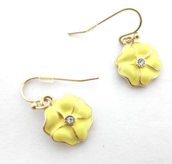 Gold Floral Earrings Available In Red, Purple, Green, and Yellow- Donated From The Designer