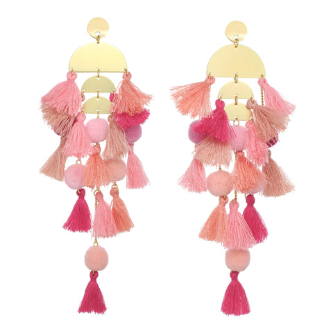 Stella & Ruby Pink Tassel Earrings - Donated From Designer - The Fashion Foundation