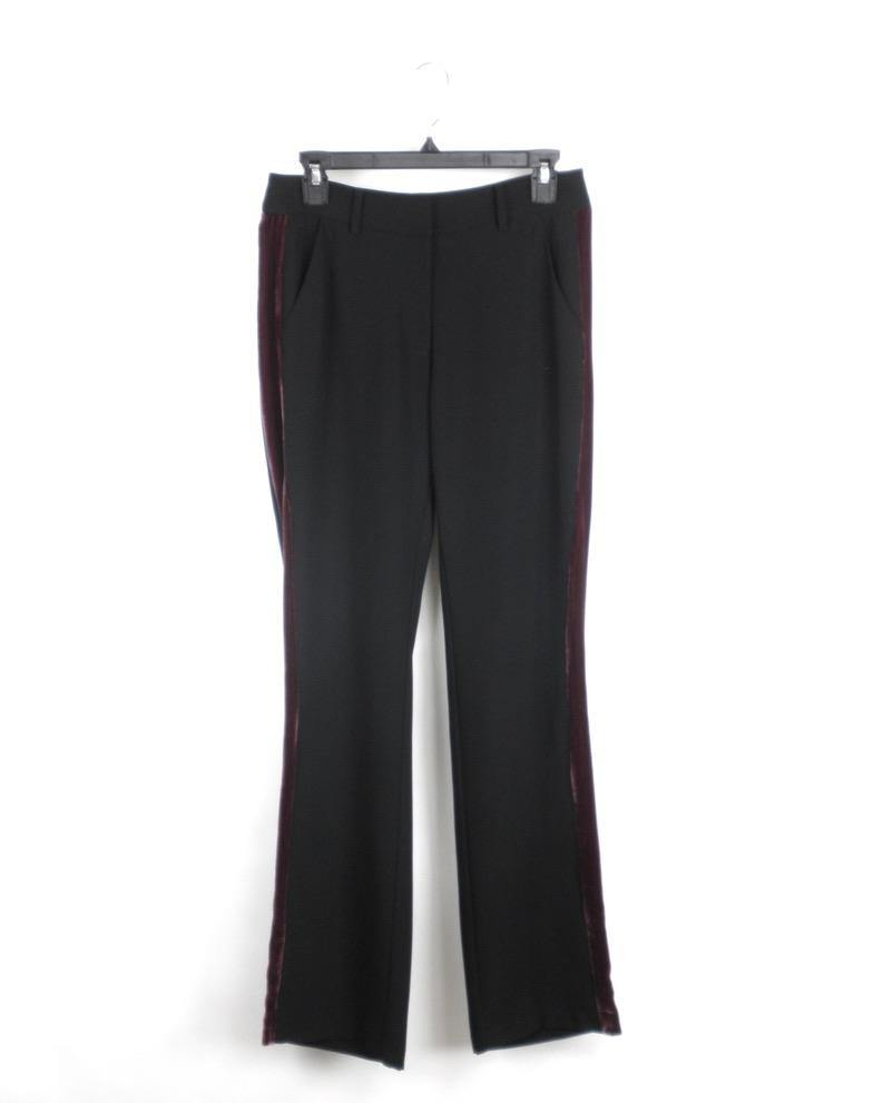 Amanda Uprichard Black Pants With Purple Velvet Strip - Small - The Fashion Foundation - {{ discount designer}}