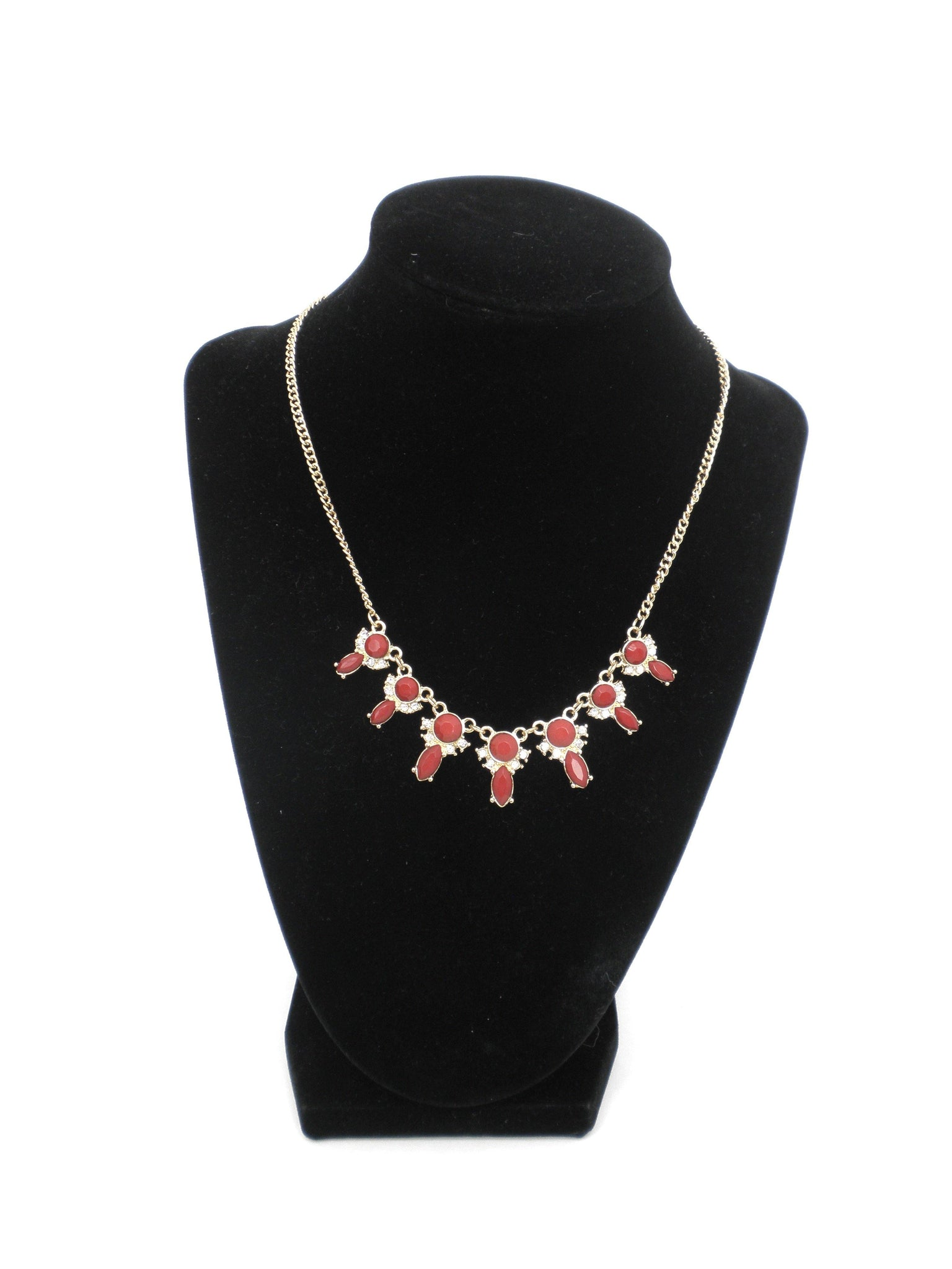 Red Stone and Crystal Necklace