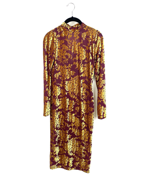 Amanda Uprichard Gold and Maroon Long Sleeve Mid Length Dress - Small - The Fashion Foundation - {{ discount designer}}