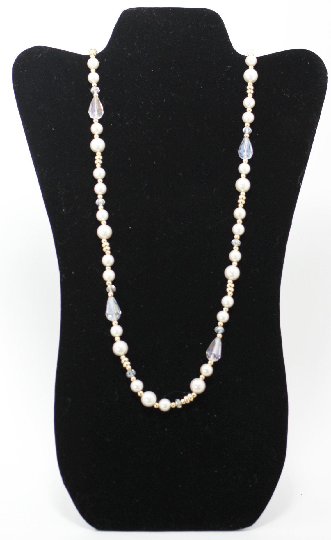 White Crystal Beaded Pearl Necklace - Donated From The Designer