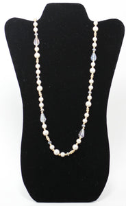 White Crystal Beaded Pearl Necklace - The Fashion Foundation