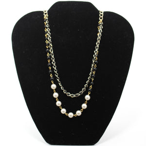Silver & Gold Chain Pearl Necklace - Donated From The Designer