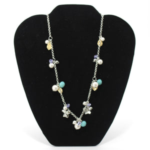 Multi Color Pearl Necklace With Matching Earrings - Donated From The Designer