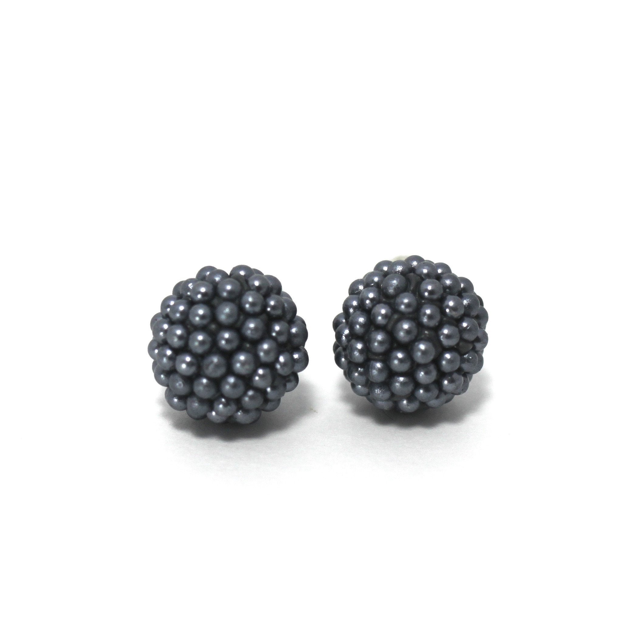 Gray Bead Stud Earrings - The Fashion Foundation