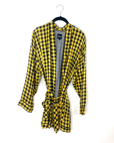 Yellow and Black Checkered Robe - Size Small