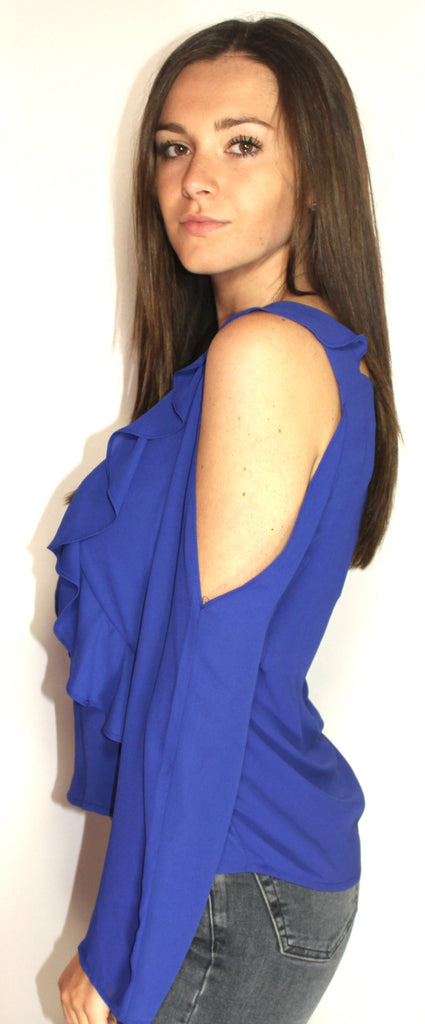 a7f1cdafc7bd9b ... Saks Fifth Avenue Ruffle Royal Blue Blouse - Size Extra Small   Small - New  With ...