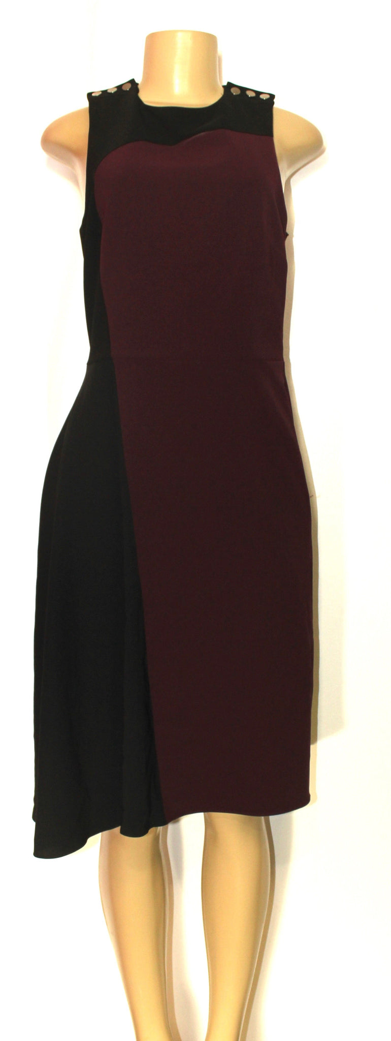 Parker Black And Burgundy Fit And Flare Dress - Size Small - New From Designer