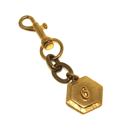 Lulu Frost Gold Number 6 Keychain - New Donated From The Designer