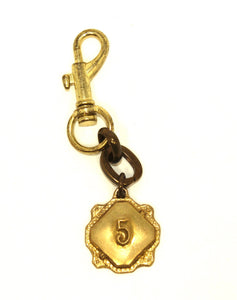 Lulu Frost Gold Number 5 Keychain - New Donated From The Designer