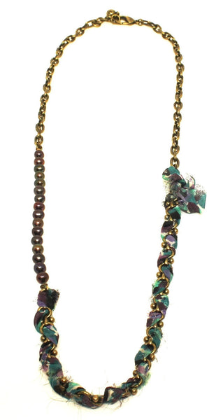 Lulu Frost Gold And Purple Beaded Ribbon Necklace - New Donated From The Designer