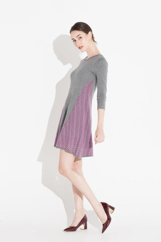 Tove & Libra Fit And Flared Gray And Purple Dress- Size XS, S, L, XL - Donated From Designer - The Fashion Foundation