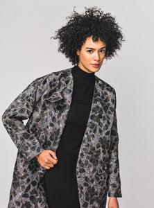 Laura Delman Brown and Blue Jacquard Coat - Size 4 - Donated From the Designer - The Fashion Foundation