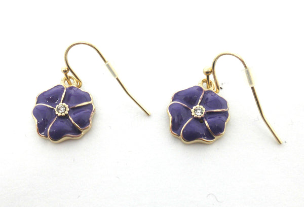 Gold Floral Earrings Available In Red, Purple, Green, and Yellow - The Fashion Foundation