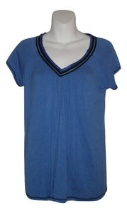 Ellen Tracy Blue and Black Short Sleeve Pajama Top - Size Small - Donated From The Designer