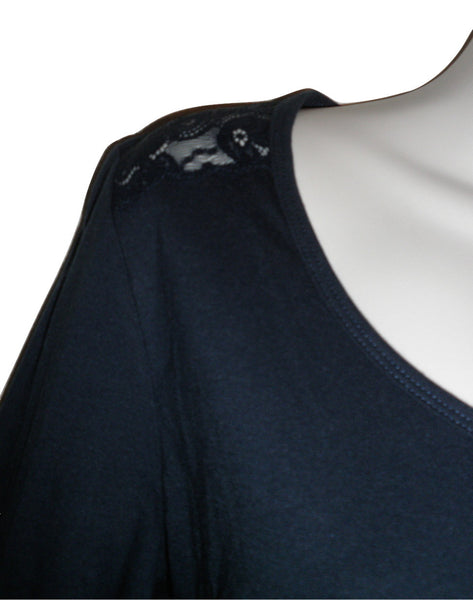 Jockey Navy Blue Lace Shoulder 3/4 Sleeve Pajama Top - Size Small - Donated From The Designer