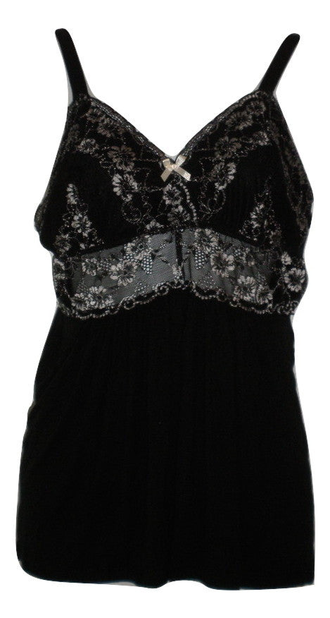 La Vie En Rose Black Lace Pajama Top - Size Medium