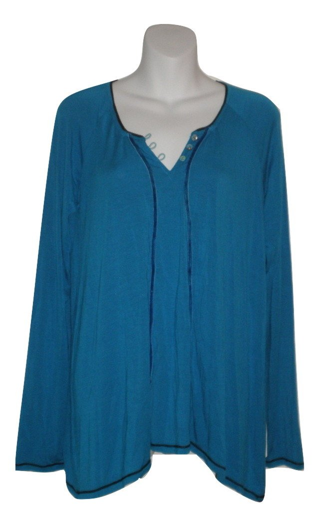 Bollydoll Dark Turquoise Long Sleeve Pajama Top - Size Small - Donated From The Designer