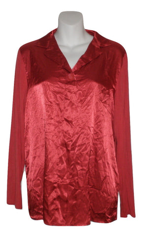 Carole Hochman Red Collared Long Sleeve Pajama Top - Size Small - Donated From The Designer