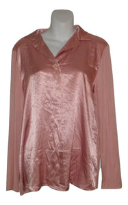 Carole Hochman Pink Collared Long Sleeve Pajama Top - Size Small - Donated From The Designer