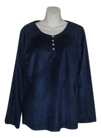 Carole Hochman Navy Blue Fleece Long Sleeve Pajama Top - Size Small - Donated From The Designer