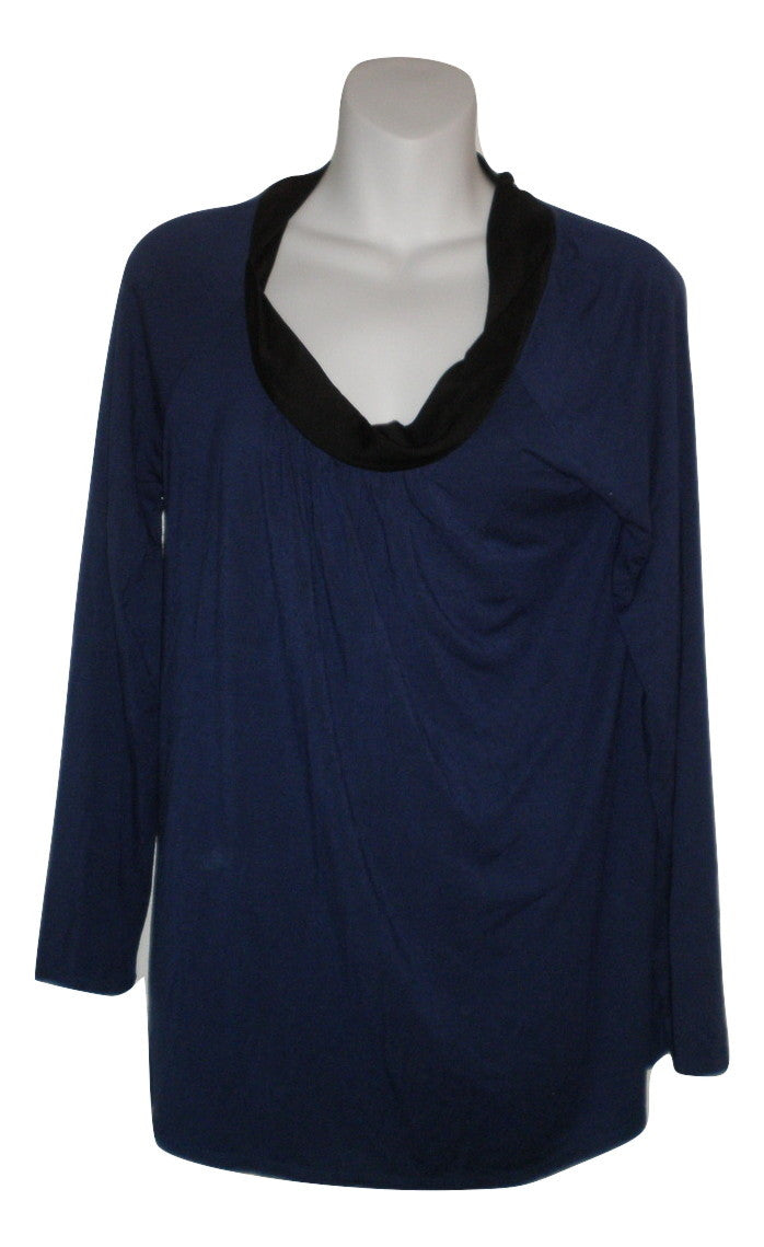 Unknown Navy Blue Long Sleeve And Black Neckline Pajama Top - Size Small - Donated From The Designer