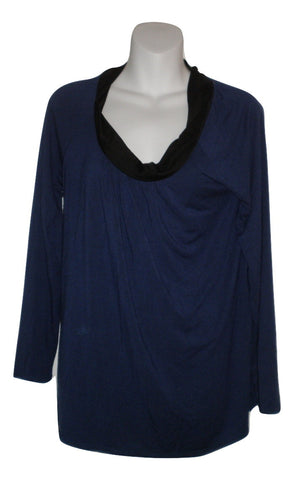 Unknown Navy Blue Long Sleeve And Black Neckline Pajama Top - Size Small