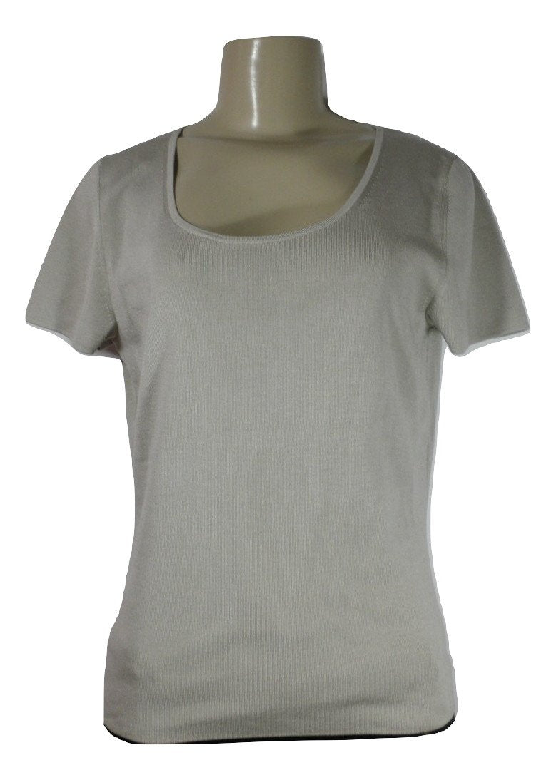 Lafayette 148 Sand Crewneck Top - Size Medium - Donated From The Designer - The Fashion Foundation