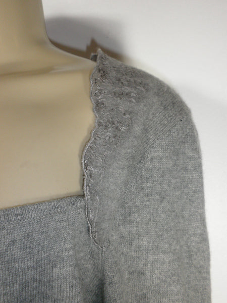 Lafayette 148 Gray Square Neckline Long Sleeve Top - Size Medium - Donated From The Designer - The Fashion Foundation