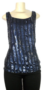 Lafayette 148 Blue Sequin Blouse - Size 2 - Donated From The Designer