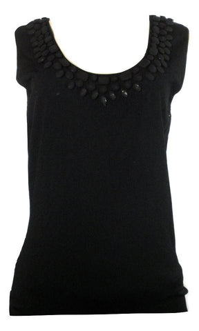Lafayette 148 Black Hand Beaded Tank Top - Small - The Fashion Foundation
