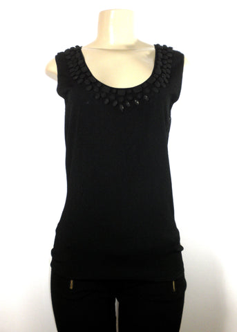 Lafayette 148 Black Hand Beaded Tank Top - Small - Donated From The Designer
