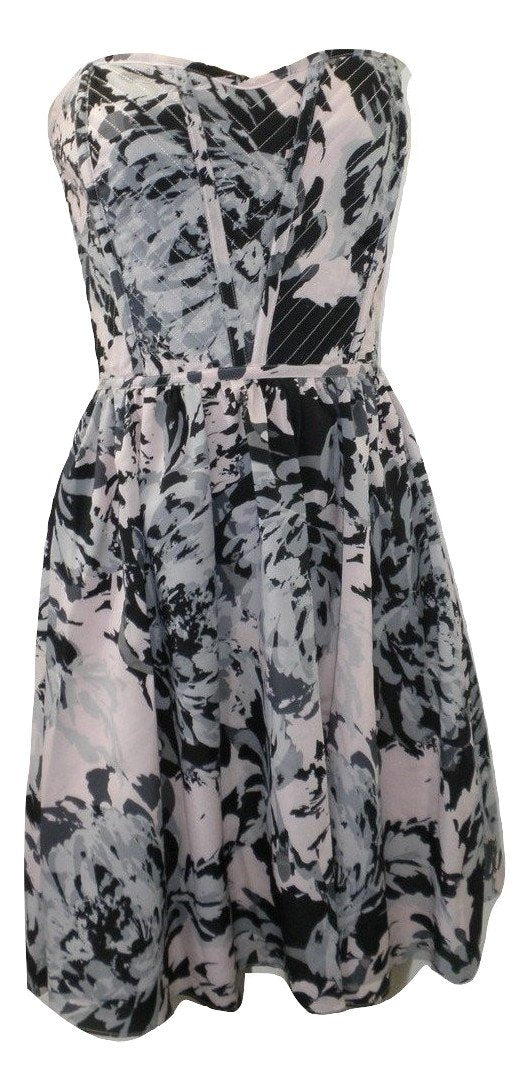 Aqua Pink, Gray, And Black Strapless Mini Dress - Size XS, S, M, L - New With Tags - The Fashion Foundation